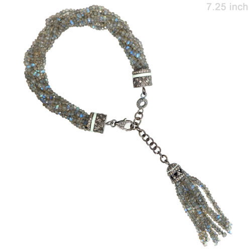 Diamond Labradorite Silver Bracelet