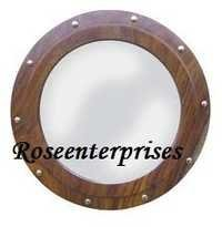 Wooden Porthole Mirror