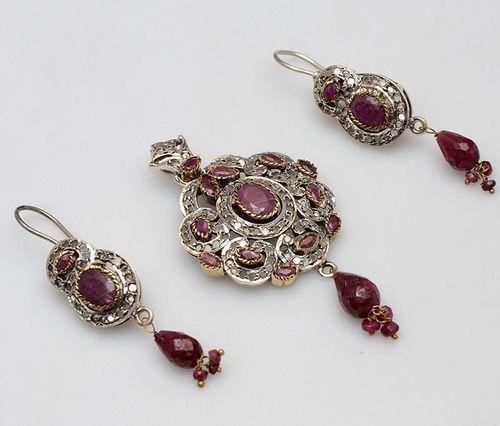 925 sterling Silver Ruby & CZ Gemstone Victorian Pendant Set