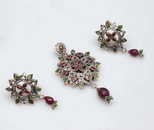 925 Sterling silver Ruby,Emerald & CZ Gemstone Victorian pendant Set