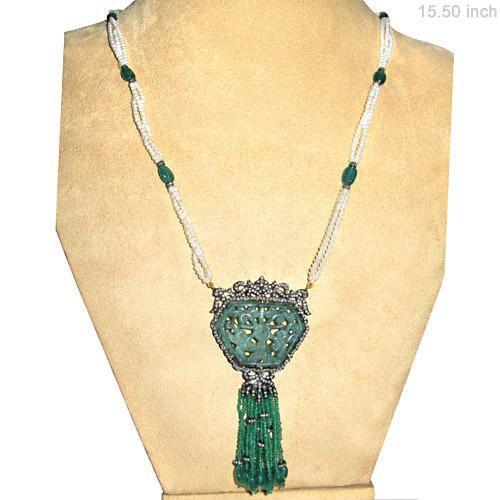 Pearl Emerald Diamond Gold Necklace