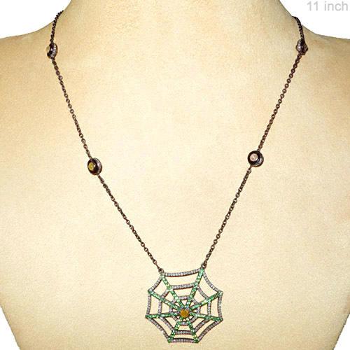 Tsavorite Diamond Silver Necklace