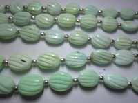 Green opal carved heart shape beads