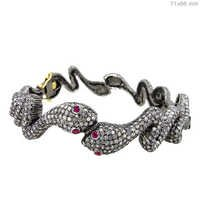 Diamond Ruby Gold Snake Bangle