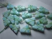Green opal carved triangle shape beads