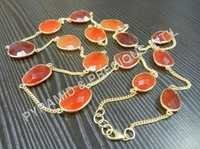 Carnelian Gemstone Bezel Set Necklace