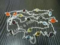 Mix Gemstone Bezel Set Necklace