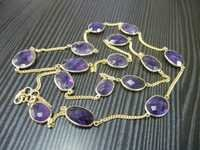 Amethyst Gemstone Gold Plated Bezel Set Necklace