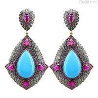 Ruby Turquoise Diamond Gold Earrings