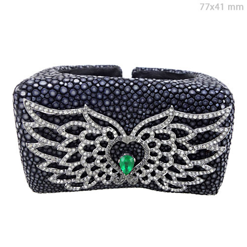 Emerald Diamond Silver Bangle