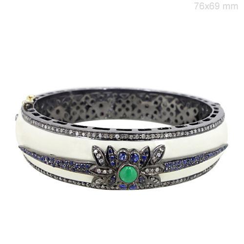 Sapphire Emerald Diamond Gold Bangle