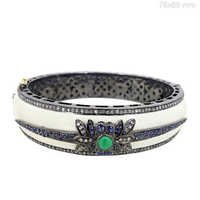 Sapphire Emerald Diamond Gold Bangle