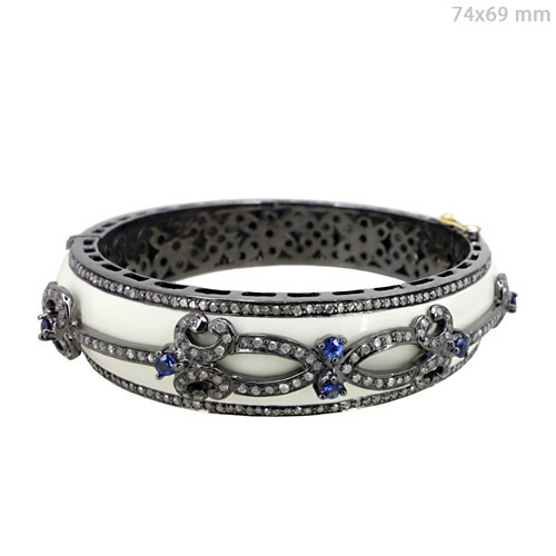 Diamond Blue Sapphire Gold Bangle