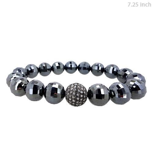 Diamond Black Spinel Silver Bracelet