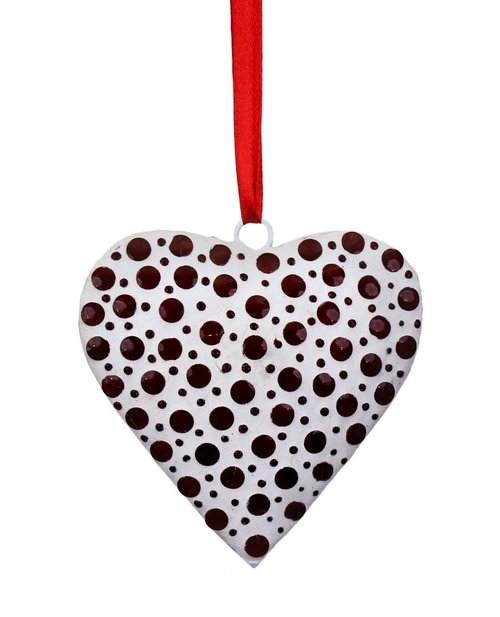 White Ornamental Handmade Heart Wall Door Hanging Adorned with Red Mosaic Glass Finish