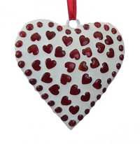 White Ornamental Handmade Heart Hanging Adorned with Red Mosaic Glass Finish