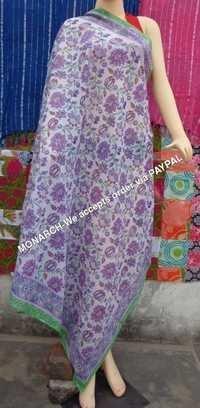 Pink Flower Hand Block Print Sarong