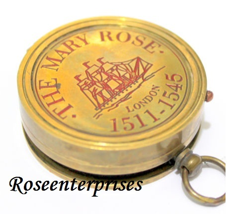 Brass Mary Rose Dori Pocket Sundial Compass