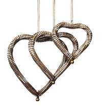 Set of 3 Ornamental Handcrafted Heart Shape Wall Door Hangings in Silver Accents