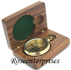 Nautical Open Face Push Button Compass with Box