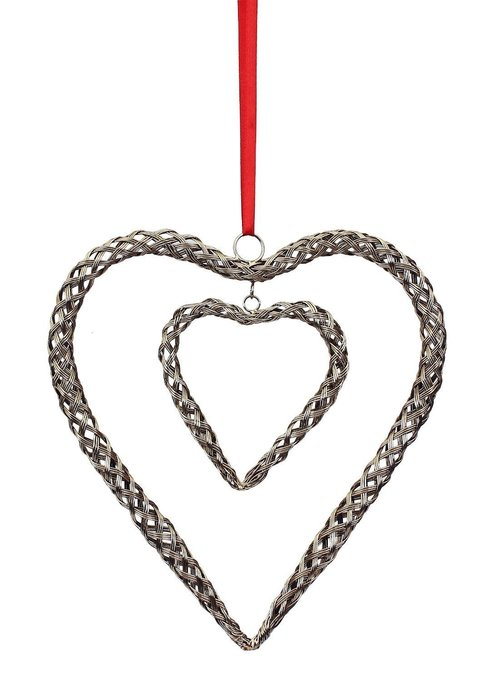 Shining Silver Wirework Chained Heart Hanging Coupled with a Smaller Inner Heart