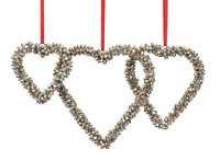 Set of 3 Handmade Ornamental Heart Wall Door Hangings in Silver Bell Cluster