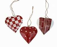 Set of 3 Heart Shape Wall Door Hangings with Hand Painted Contemporary Patterns