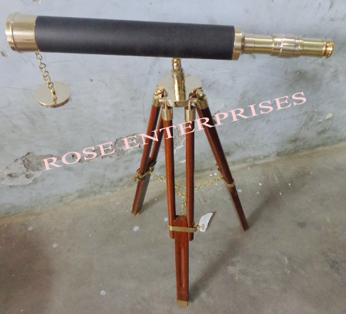 Nautical Single Barrel Tripod Stand Telescope