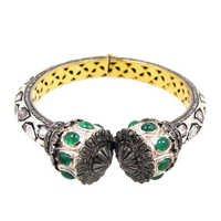 Emerald Diamond Gold Bangle