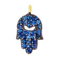 Gold Blue Sapphire Hamsa Pendant