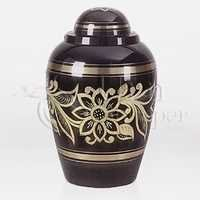 Ebony Bouquet Brass Metal Cremation Urn