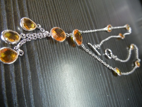 SIlver Citrine  Bezel Necklace