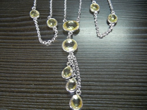 Teardrop Bezel Gemstone Necklace