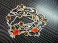 Silver Bezel Set Necklace with Gemstone