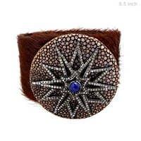 Pave Diamond Blue Sapphire Silver Bracelet