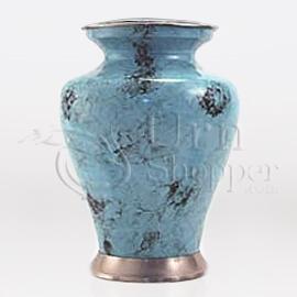 Glenwood Blue Marble Brass Metal Cremation Urn