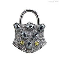 Black Spinel Diamond Silver Pendant