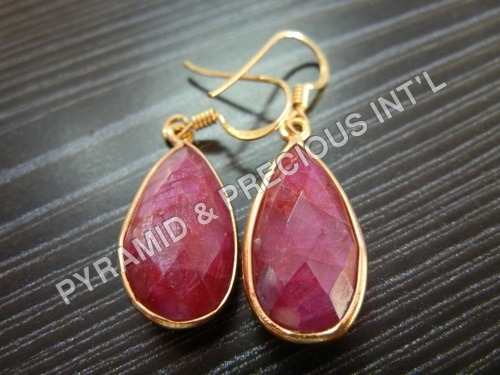 Gold Plated Gemstone Bezel Earrings