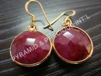 Gold Plated Ruby Earring