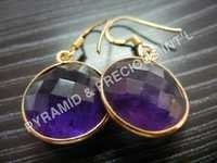Amethyst Sterling Silver Bezel Earrings