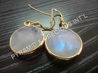 Rainbow Moonstone Gold Plated Earrings