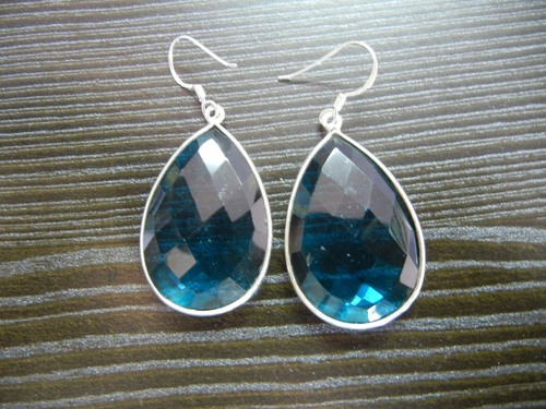 Blue Quartz Bezel Earrings