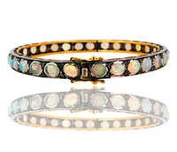 Opal Diamond Gold Bangle
