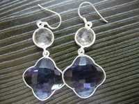 Clover Shaped Bezel Earrings