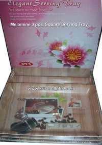 Tray Set-Melamine 3pc Square
