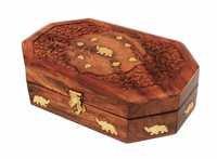 Beautiful Wooden Keepsake Jewelry Box with Brass Inlay Gift Ideas for Girls & Women