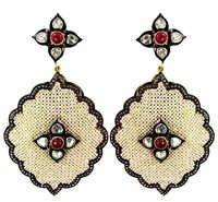Pearl Ruby Diamond Gold Earrings