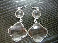Pink Quartz Silver Earrings