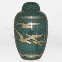 Teal Birds Brass Metal Cremation Urn