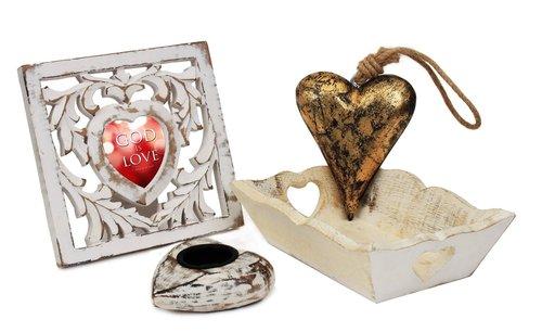 Handmade Heart Shaped Photo Frame & Wall Hanging & Tea Light Candle Holder Home Décor